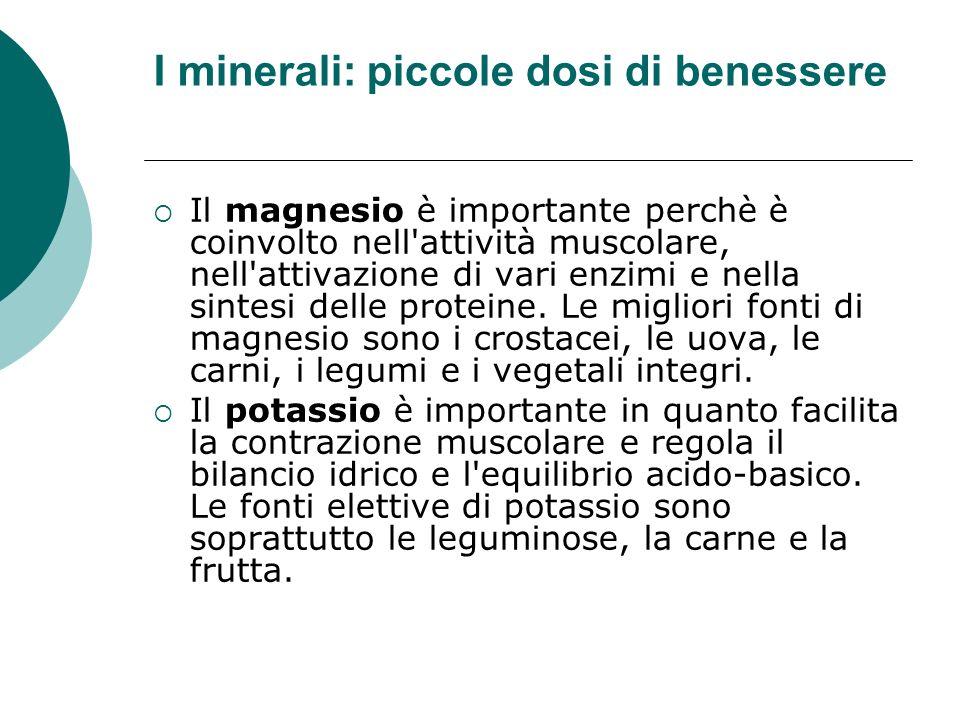 I minerali: piccole dosi di benessere Il magnesio è importante perchè è coinvolto nell'attività muscolare, nell'attivazione di vari enzimi e nella sin