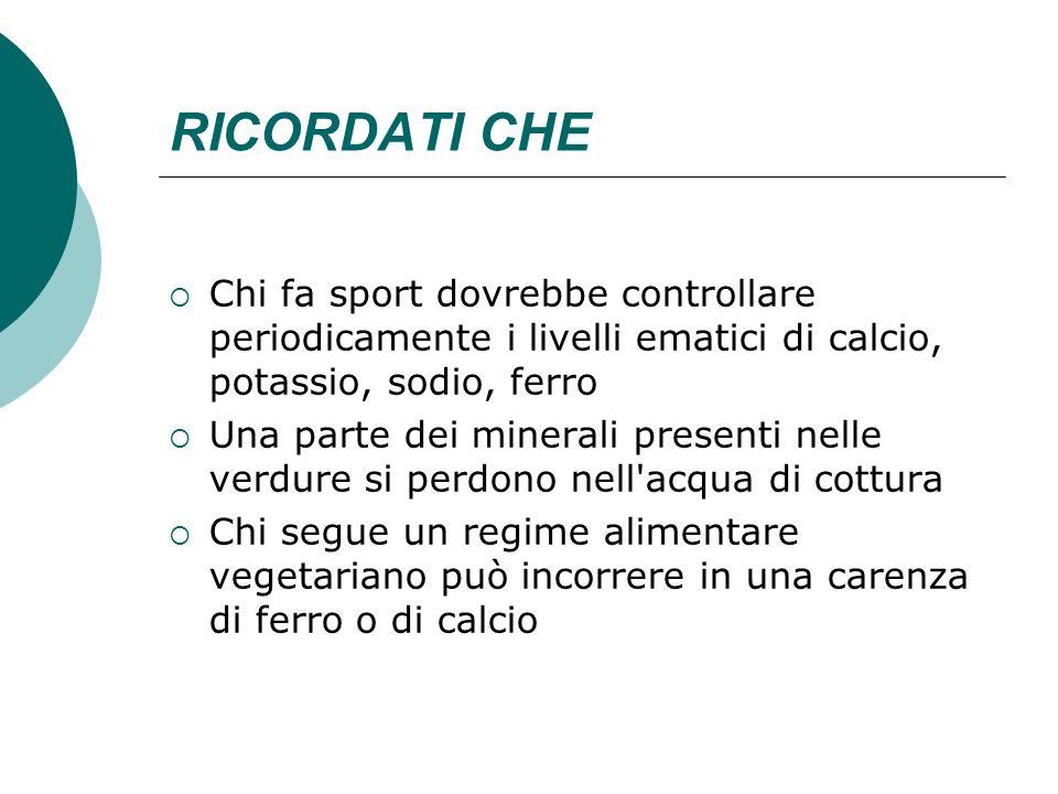 RICORDATI CHE Chi fa sport dovrebbe controllare periodicamente i livelli ematici di calcio, potassio, sodio, ferro Una parte dei minerali presenti nel