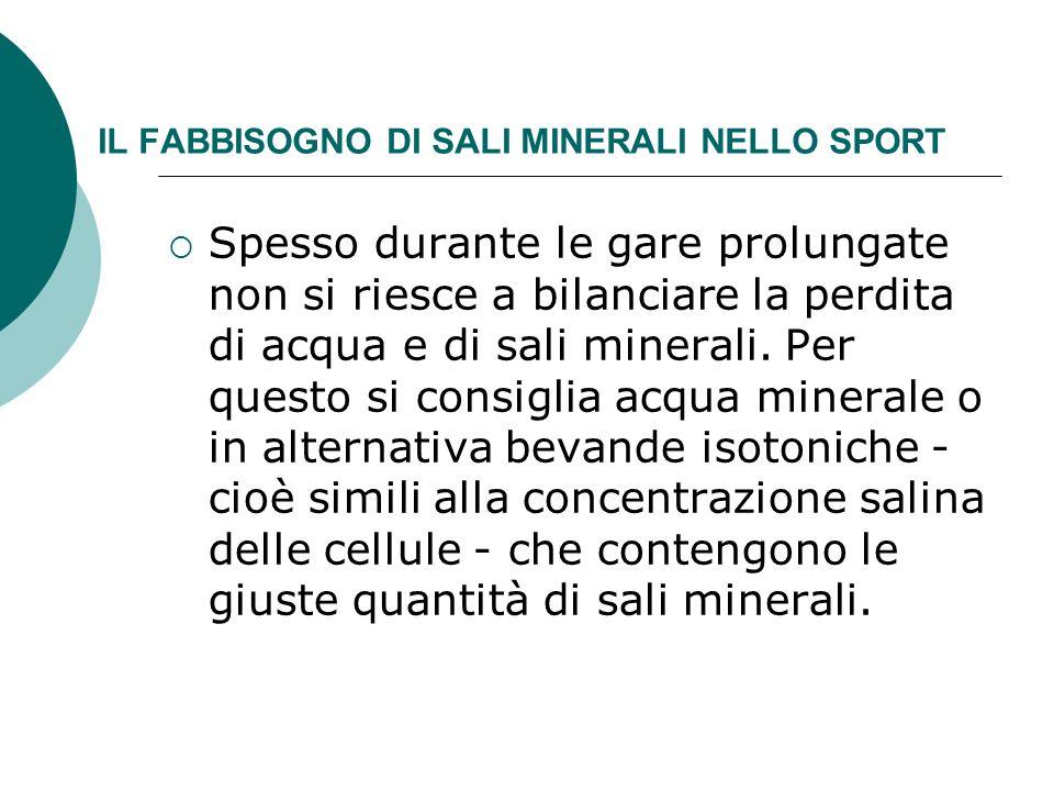 IL FABBISOGNO DI SALI MINERALI NELLO SPORT Spesso durante le gare prolungate non si riesce a bilanciare la perdita di acqua e di sali minerali. Per qu