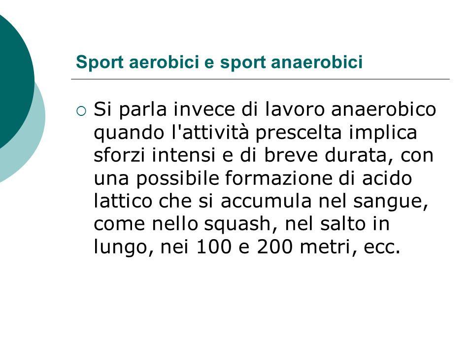 Sport aerobici e sport anaerobici Si parla invece di lavoro anaerobico quando l'attività prescelta implica sforzi intensi e di breve durata, con una p