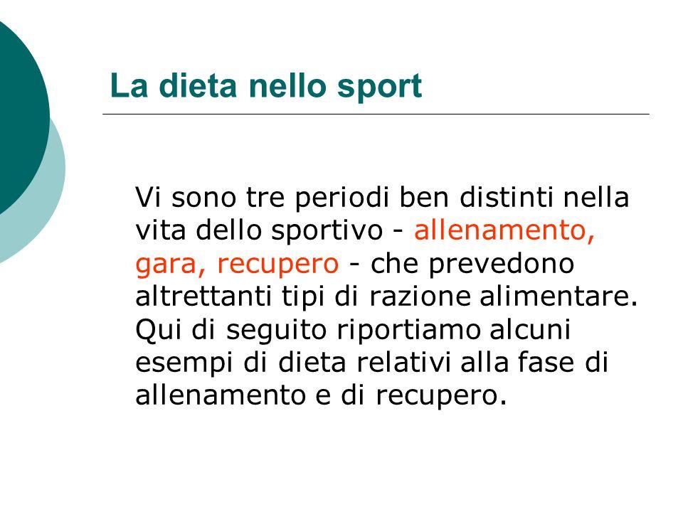 La dieta nello sport Vi sono tre periodi ben distinti nella vita dello sportivo - allenamento, gara, recupero - che prevedono altrettanti tipi di razi
