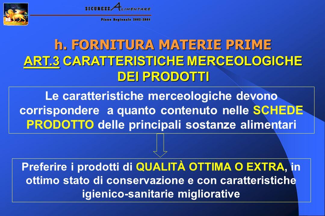 h. FORNITURA MATERIE PRIME ART.3 CARATTERISTICHE MERCEOLOGICHE DEI PRODOTTI Le caratteristiche merceologiche devono corrispondere a quanto contenuto n