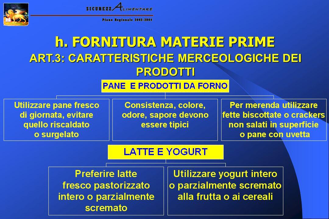 h. FORNITURA MATERIE PRIME ART.3: CARATTERISTICHE MERCEOLOGICHE DEI PRODOTTI