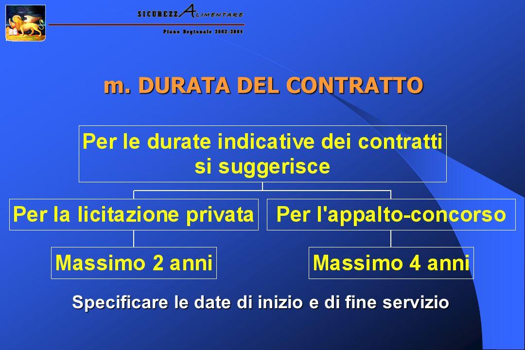 m. DURATA DEL CONTRATTO Specificare le date di inizio e di fine servizio