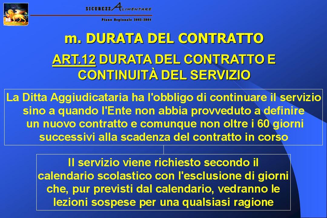 m. DURATA DEL CONTRATTO ART.12 DURATA DEL CONTRATTO E CONTINUITÀ DEL SERVIZIO