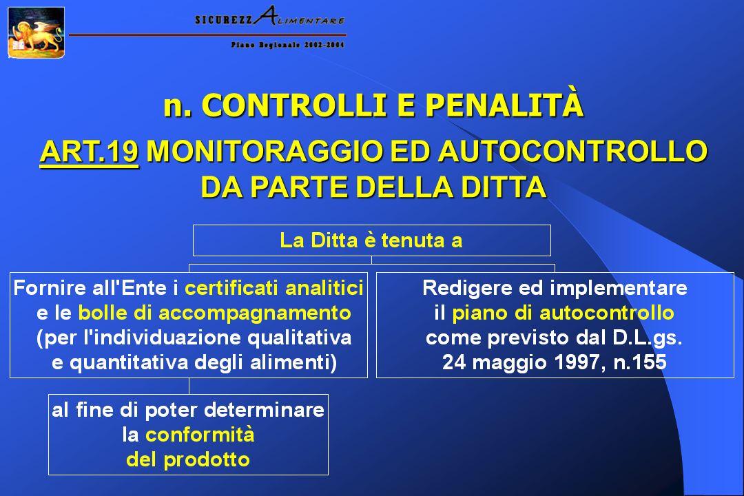 n. CONTROLLI E PENALITÀ ART.19 MONITORAGGIO ED AUTOCONTROLLO DA PARTE DELLA DITTA