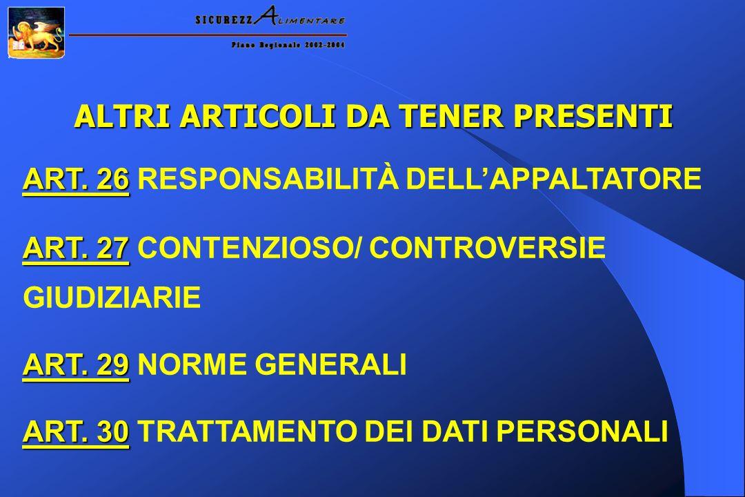ALTRI ARTICOLI DA TENER PRESENTI ART.26 ART. 26 RESPONSABILITÀ DELLAPPALTATORE ART.
