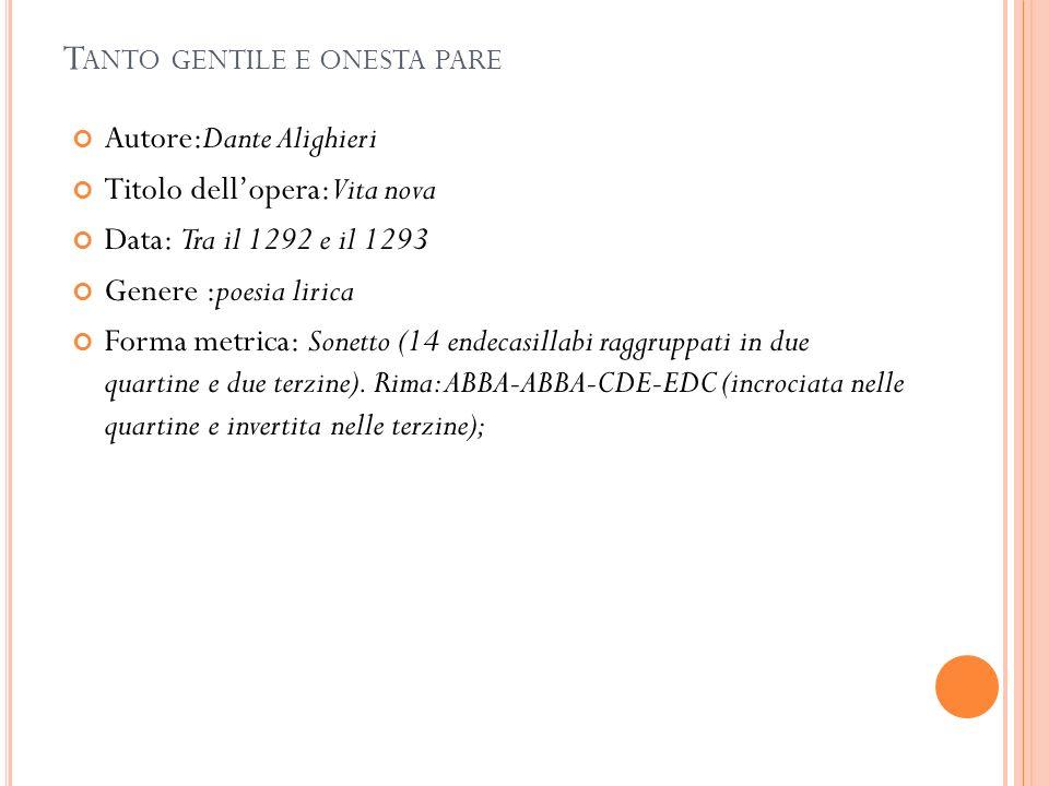 T ANTO GENTILE E ONESTA PARE Autore:Dante Alighieri Titolo dellopera:Vita nova Data: Tra il 1292 e il 1293 Genere :poesia lirica Forma metrica: Sonetto (14 endecasillabi raggruppati in due quartine e due terzine).