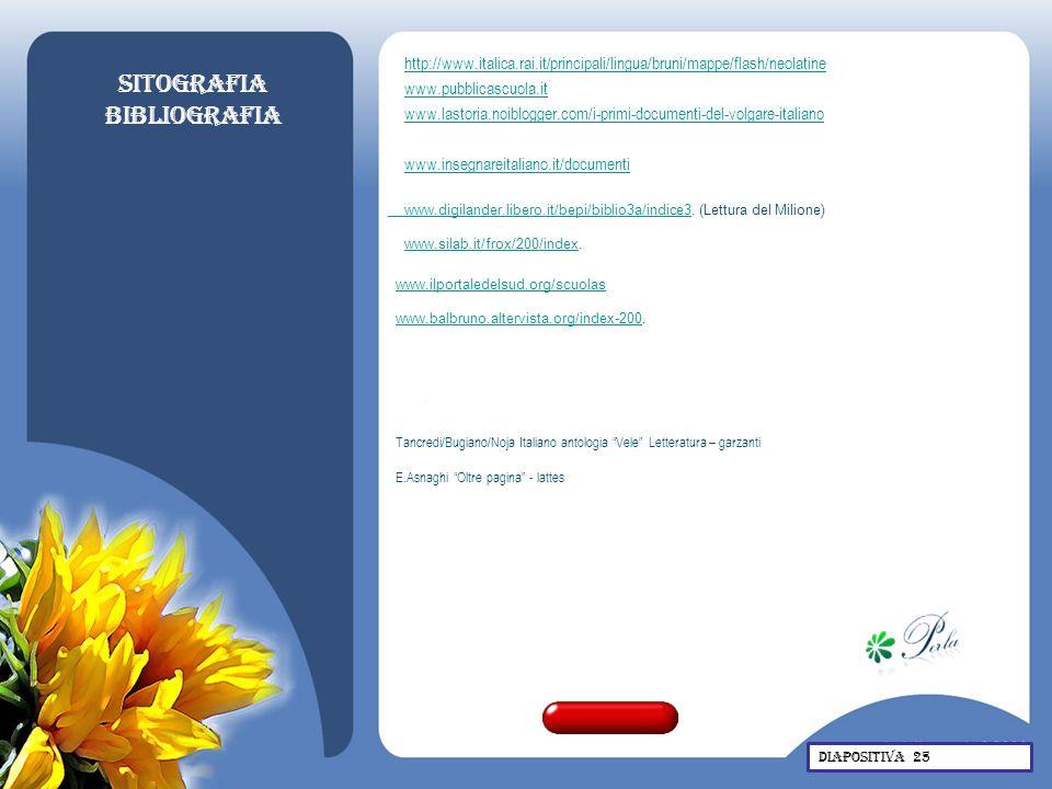 Sitografia Bibliografia http://www.italica.rai.it/principali/lingua/bruni/mappe/flash/neolatine www.pubblicascuola.it www.lastoria.noiblogger.com/i-pr