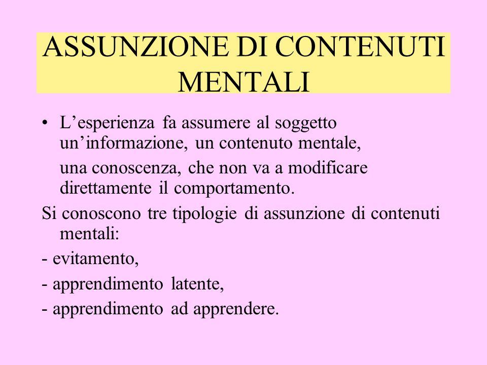 ASSUNZIONE DI CONTENUTI MENTALI Lesperienza fa assumere al soggetto uninformazione, un contenuto mentale, una conoscenza, che non va a modificare direttamente il comportamento.