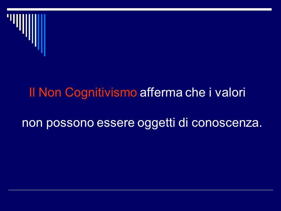 Il Non Cognitivismo afferma che i valori non possono essere oggetti di conoscenza.