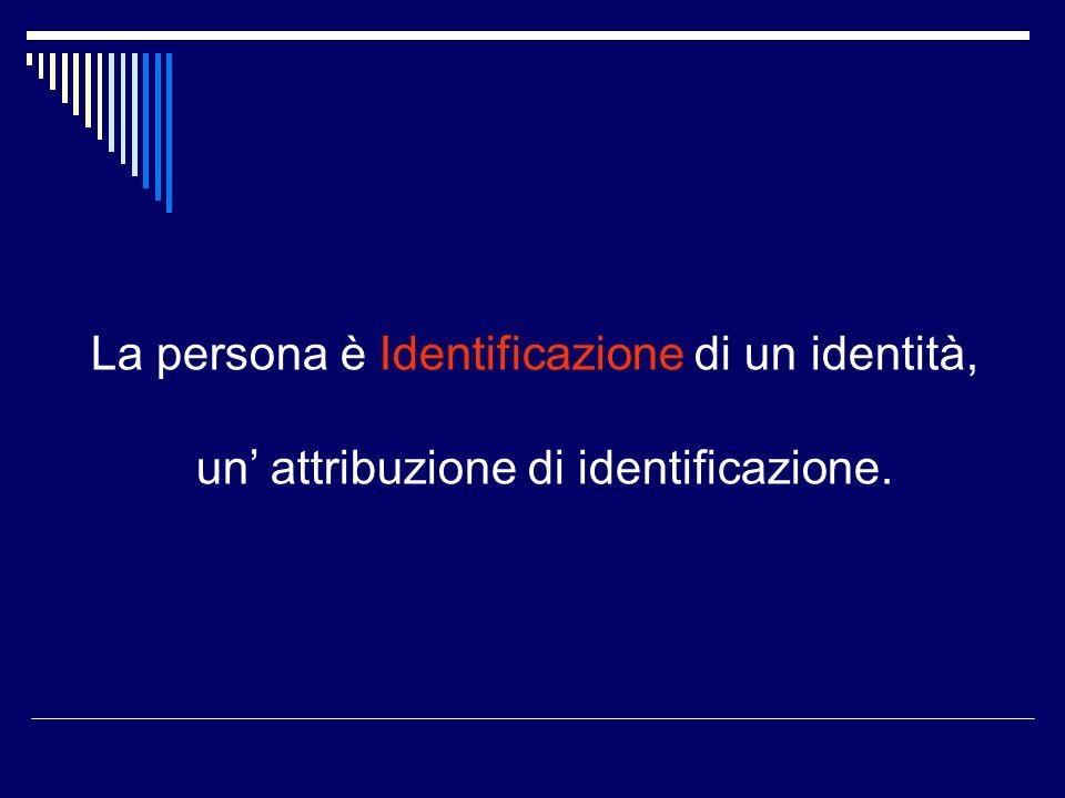 La persona è Identificazione di un identità, un attribuzione di identificazione.