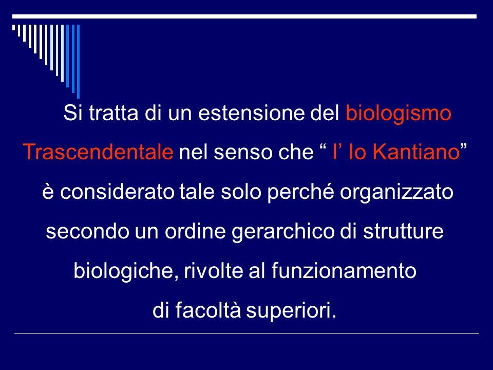 Si tratta di un estensione del biologismo Trascendentale nel senso che l Io Kantiano è considerato tale solo perché organizzato secondo un ordine gerarchico di strutture biologiche, rivolte al funzionamento di facoltà superiori.