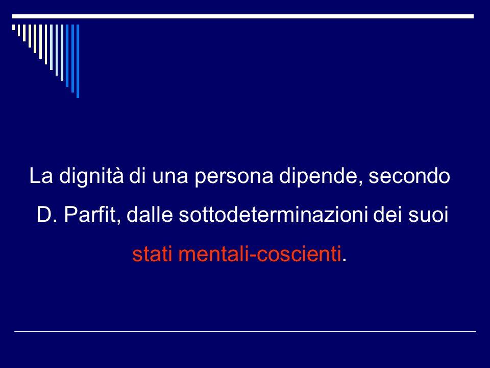 La dignità di una persona dipende, secondo D.