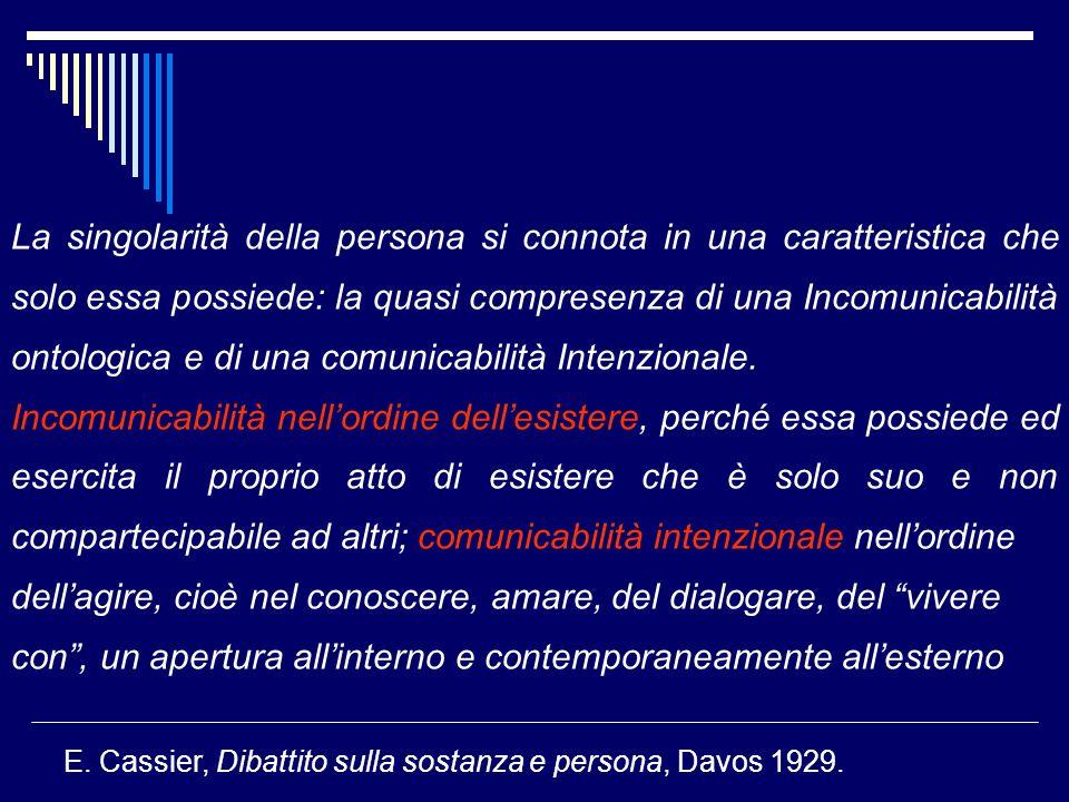 La singolarità della persona si connota in una caratteristica che solo essa possiede: la quasi compresenza di una Incomunicabilità ontologica e di una comunicabilità Intenzionale.