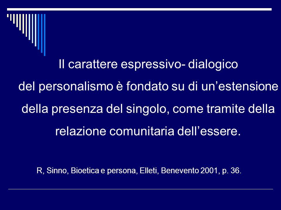 Il carattere espressivo- dialogico del personalismo è fondato su di unestensione della presenza del singolo, come tramite della relazione comunitaria dellessere.