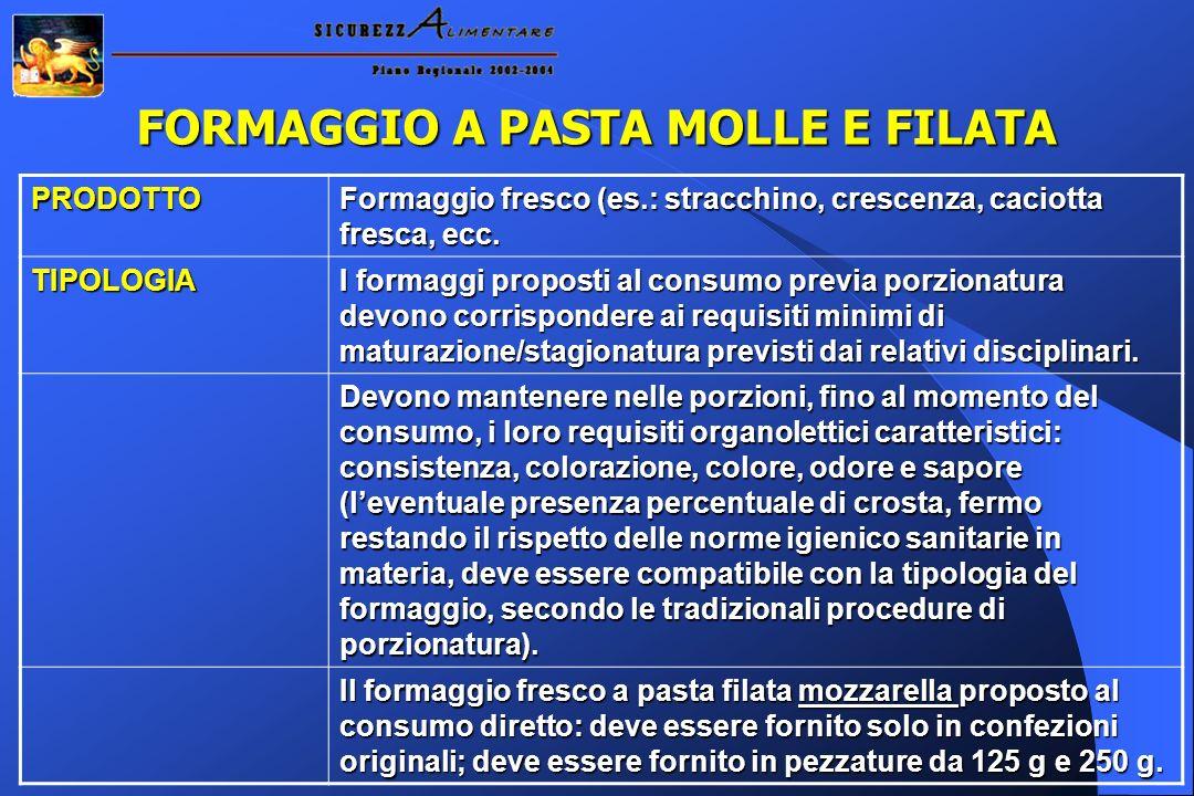 FORMAGGIO A PASTA MOLLE E FILATA PRODOTTO Formaggio fresco (es.: stracchino, crescenza, caciotta fresca, ecc. TIPOLOGIA I formaggi proposti al consumo