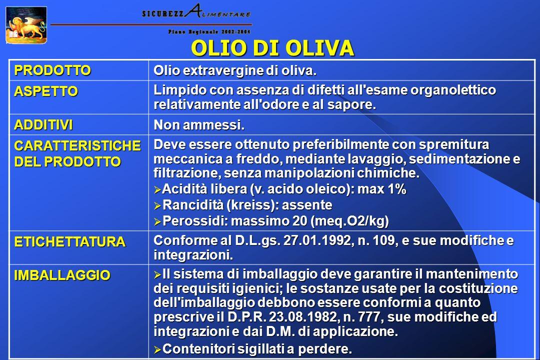 OLIO DI OLIVA PRODOTTO Olio extravergine di oliva. ASPETTO Limpido con assenza di difetti all'esame organolettico relativamente all'odore e al sapore.