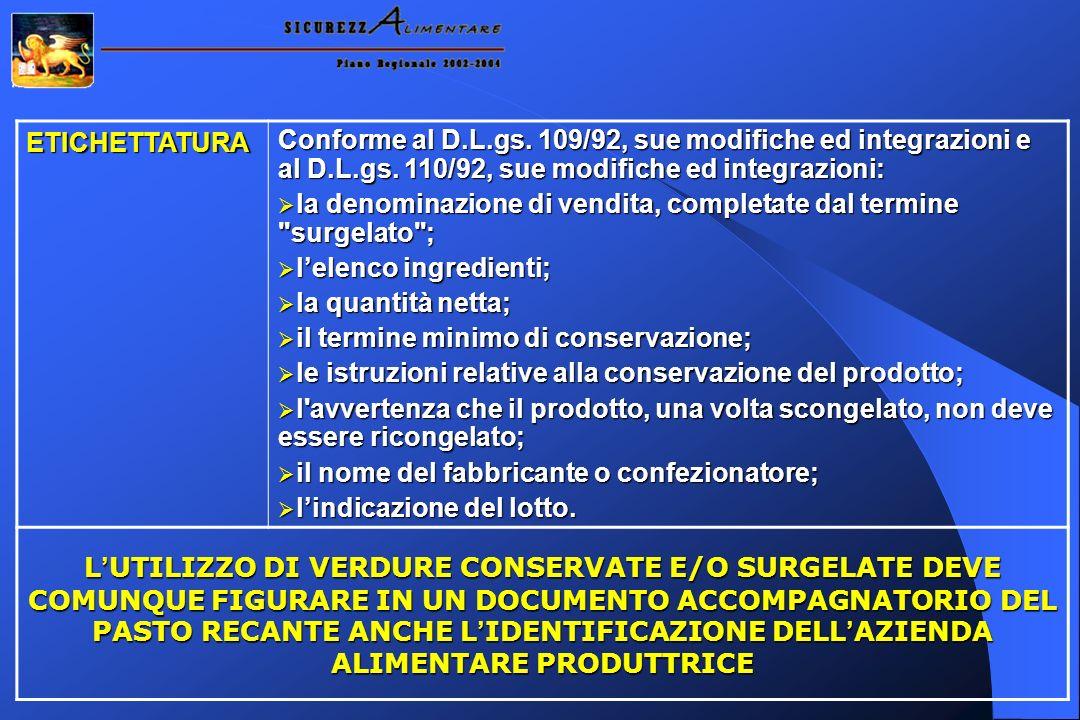 ETICHETTATURA Conforme al D.L.gs. 109/92, sue modifiche ed integrazioni e al D.L.gs. 110/92, sue modifiche ed integrazioni: la denominazione di vendit