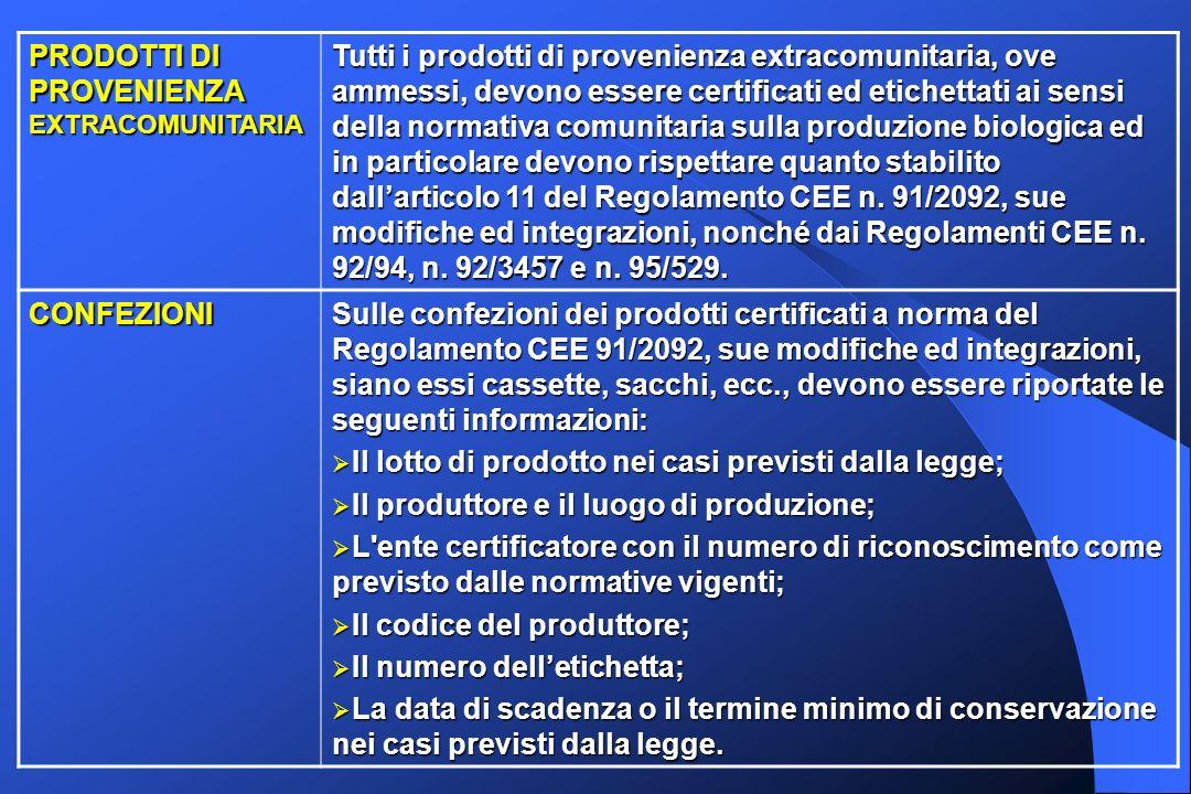 PRODOTTI DI PROVENIENZA EXTRACOMUNITARIA Tutti i prodotti di provenienza extracomunitaria, ove ammessi, devono essere certificati ed etichettati ai se