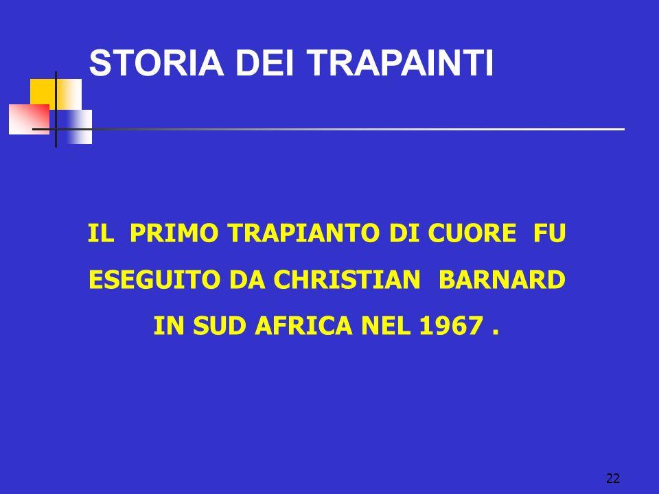 22 STORIA DEI TRAPAINTI IL PRIMO TRAPIANTO DI CUORE FU ESEGUITO DA CHRISTIAN BARNARD IN SUD AFRICA NEL 1967.