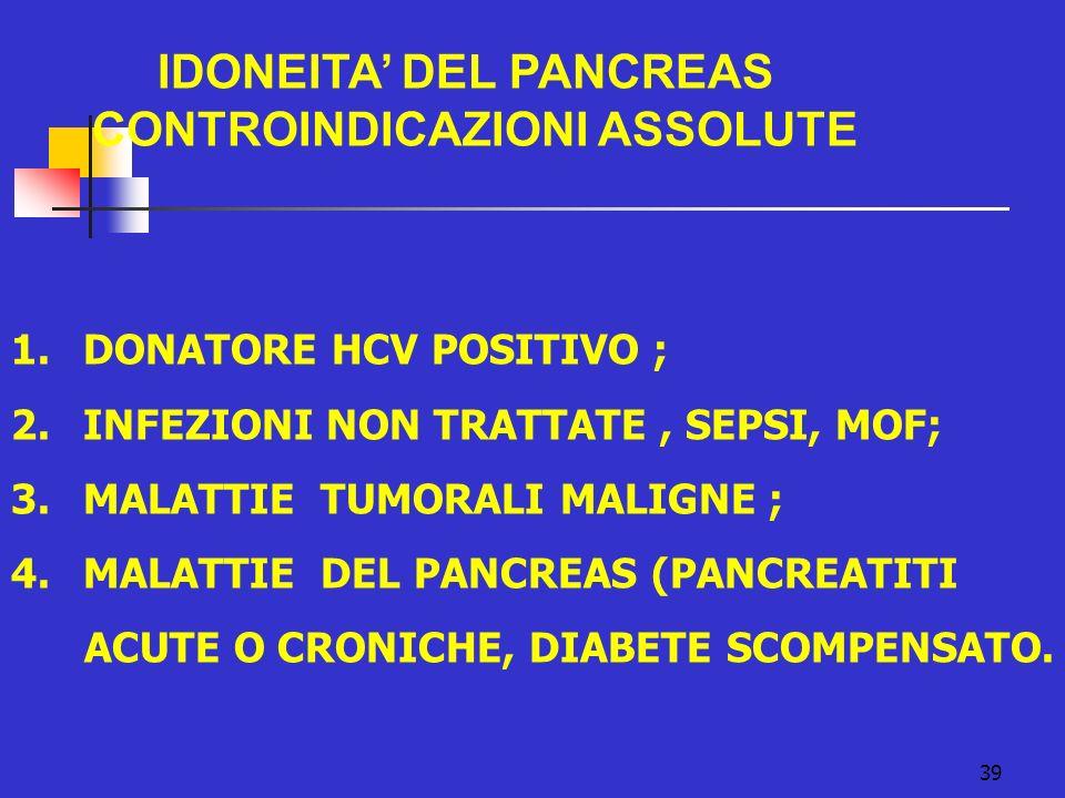 39 IDONEITA DEL PANCREAS CONTROINDICAZIONI ASSOLUTE 1. DONATORE HCV POSITIVO ; 2. INFEZIONI NON TRATTATE, SEPSI, MOF; 3. MALATTIE TUMORALI MALIGNE ; 4