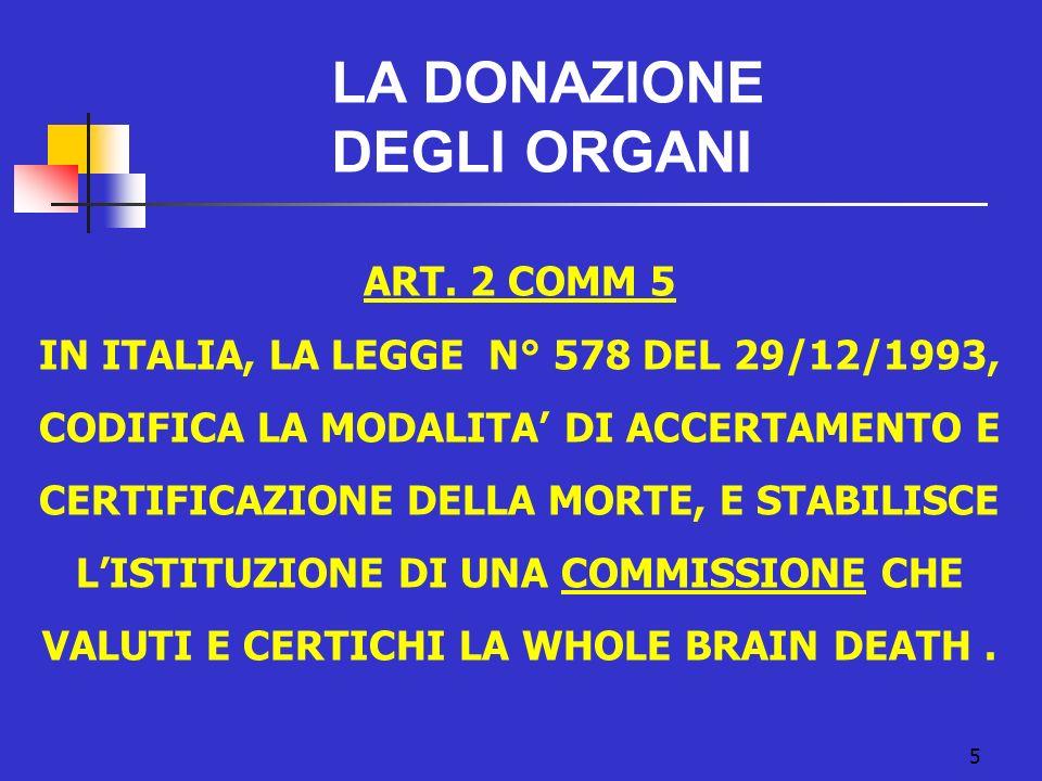 5 LA DONAZIONE DEGLI ORGANI ART. 2 COMM 5 IN ITALIA, LA LEGGE N° 578 DEL 29/12/1993, CODIFICA LA MODALITA DI ACCERTAMENTO E CERTIFICAZIONE DELLA MORTE