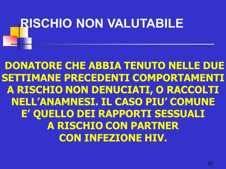 53 RISCHIO NON VALUTABILE DONATORE CHE ABBIA TENUTO NELLE DUE SETTIMANE PRECEDENTI COMPORTAMENTI A RISCHIO NON DENUCIATI, O RACCOLTI NELLANAMNESI. IL