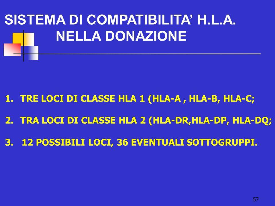 57 SISTEMA DI COMPATIBILITA H.L.A. NELLA DONAZIONE 1.TRE LOCI DI CLASSE HLA 1 (HLA-A, HLA-B, HLA-C; 2.TRA LOCI DI CLASSE HLA 2 (HLA-DR,HLA-DP, HLA-DQ;