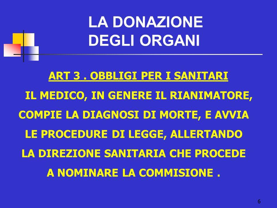 6 LA DONAZIONE DEGLI ORGANI ART 3. OBBLIGI PER I SANITARI IL MEDICO, IN GENERE IL RIANIMATORE, COMPIE LA DIAGNOSI DI MORTE, E AVVIA LE PROCEDURE DI LE