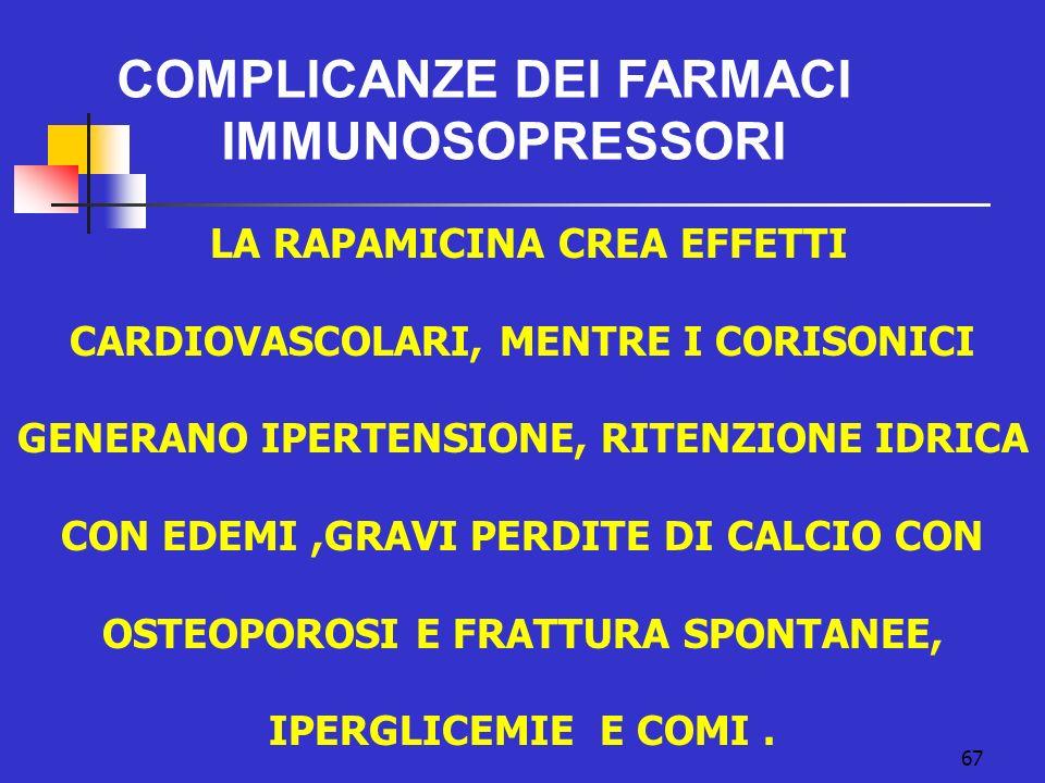 67 COMPLICANZE DEI FARMACI IMMUNOSOPRESSORI LA RAPAMICINA CREA EFFETTI CARDIOVASCOLARI, MENTRE I CORISONICI GENERANO IPERTENSIONE, RITENZIONE IDRICA C