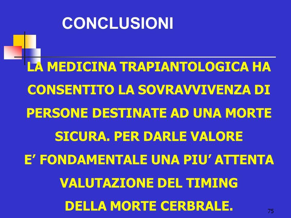 75 CONCLUSIONI LA MEDICINA TRAPIANTOLOGICA HA CONSENTITO LA SOVRAVVIVENZA DI PERSONE DESTINATE AD UNA MORTE SICURA. PER DARLE VALORE E FONDAMENTALE UN