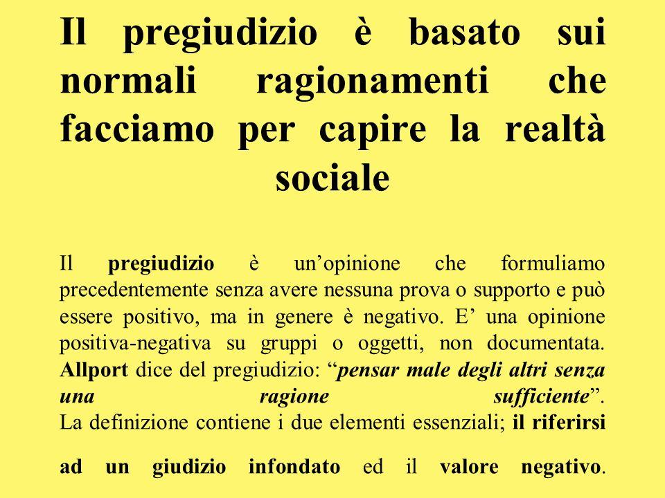 Il pregiudizio è basato sui normali ragionamenti che facciamo per capire la realtà sociale Il pregiudizio è unopinione che formuliamo precedentemente