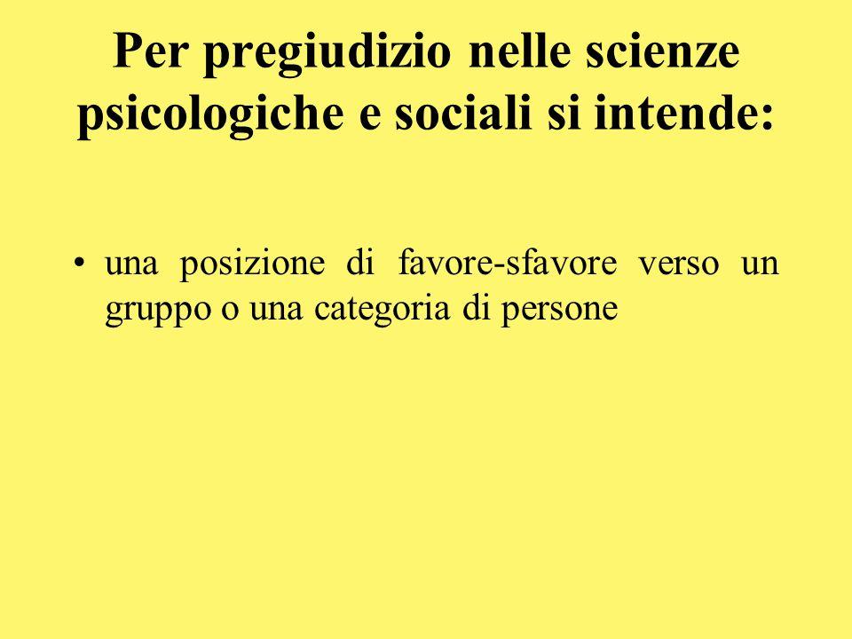 Per pregiudizio nelle scienze psicologiche e sociali si intende: una posizione di favore-sfavore verso un gruppo o una categoria di persone