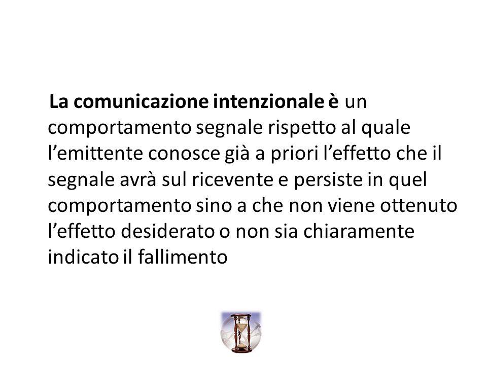 La comunicazione intenzionale è un comportamento segnale rispetto al quale lemittente conosce già a priori leffetto che il segnale avrà sul ricevente