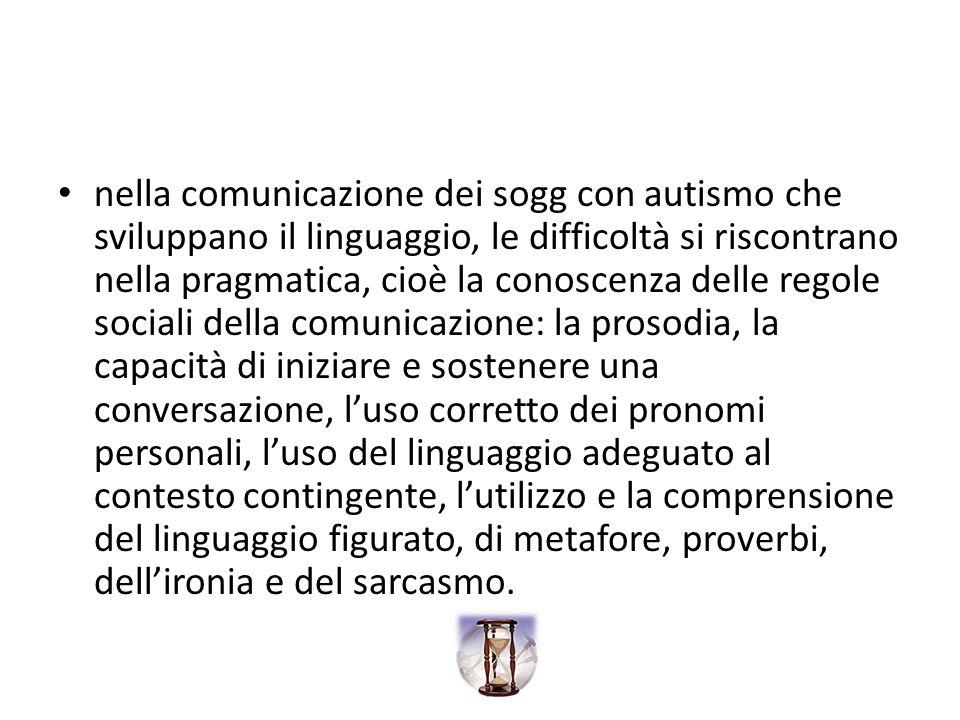 nella comunicazione dei sogg con autismo che sviluppano il linguaggio, le difficoltà si riscontrano nella pragmatica, cioè la conoscenza delle regole