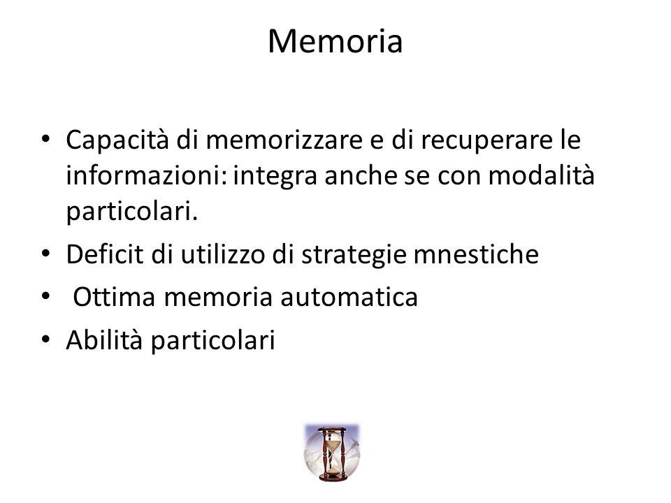 Memoria Capacità di memorizzare e di recuperare le informazioni: integra anche se con modalità particolari. Deficit di utilizzo di strategie mnestiche