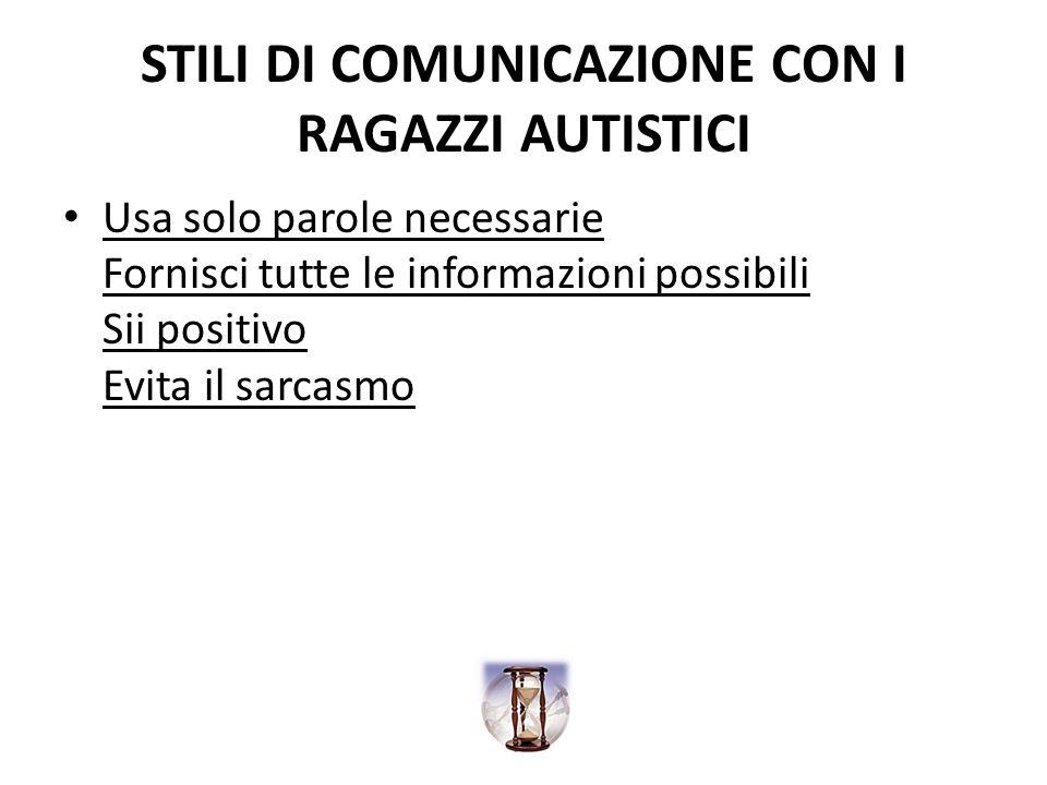 STILI DI COMUNICAZIONE CON I RAGAZZI AUTISTICI Usa solo parole necessarie Fornisci tutte le informazioni possibili Sii positivo Evita il sarcasmo