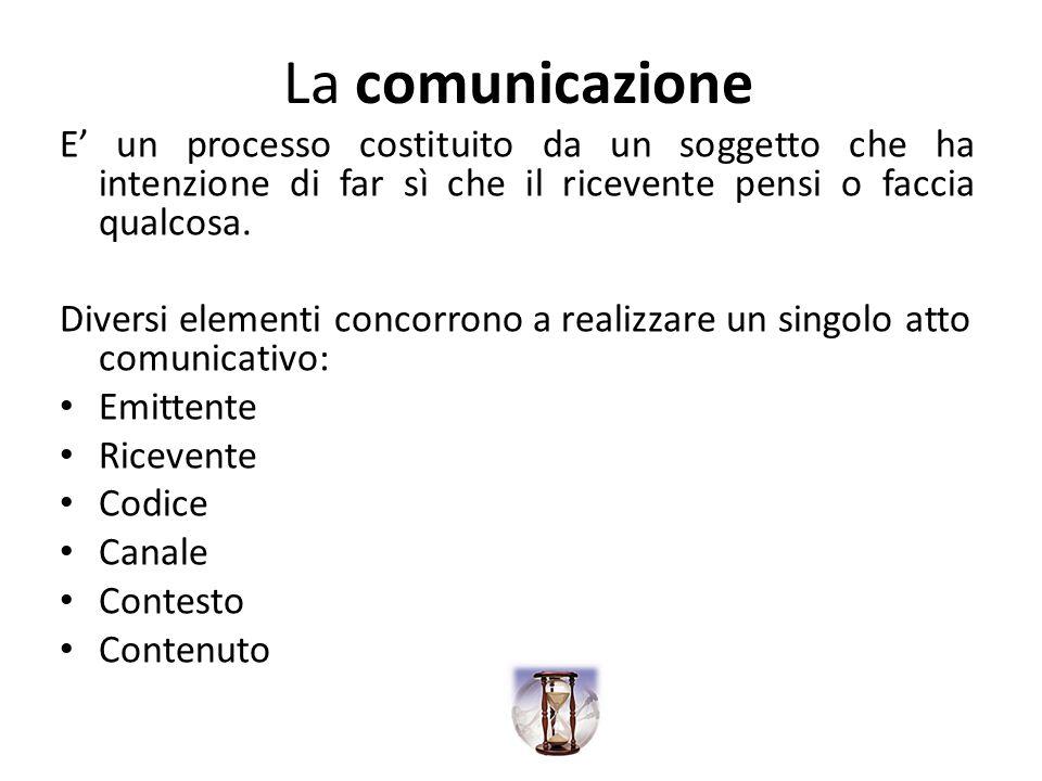 La comunicazione E un processo costituito da un soggetto che ha intenzione di far sì che il ricevente pensi o faccia qualcosa. Diversi elementi concor