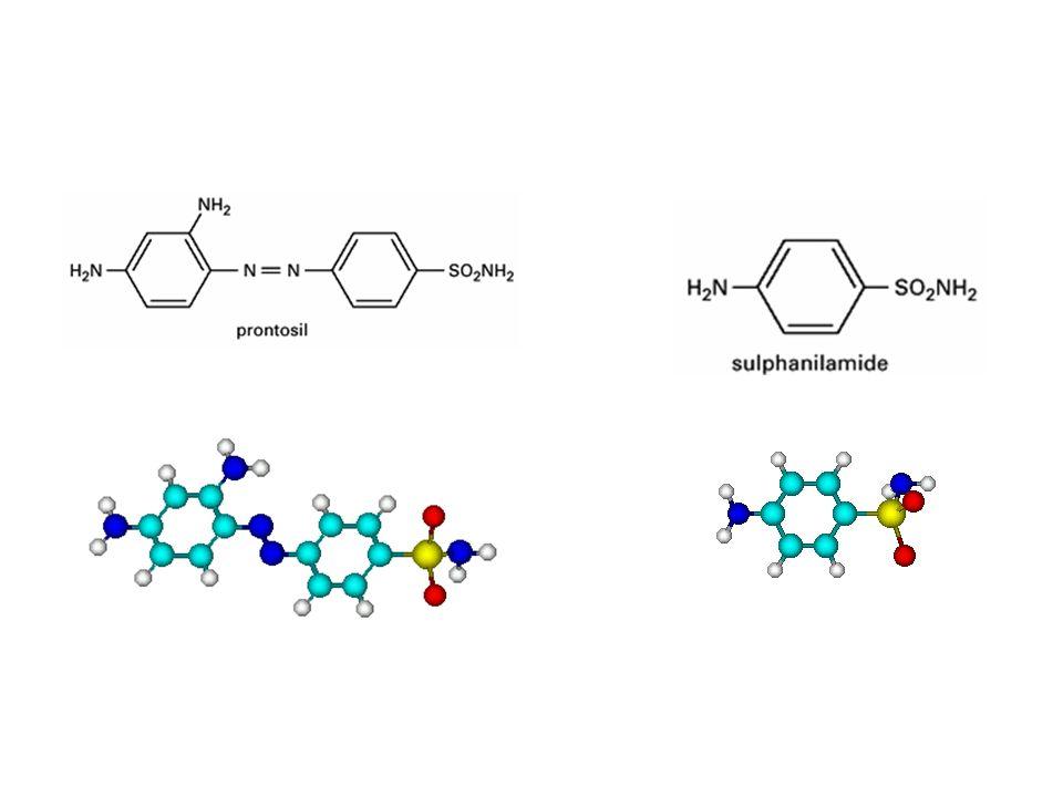 La sulfanilamide, primo sulfamidico identificato, nasce dallosservazione che il colorante Prontosil rubrum (sulfacrisoidina) diventava attivo solo dop
