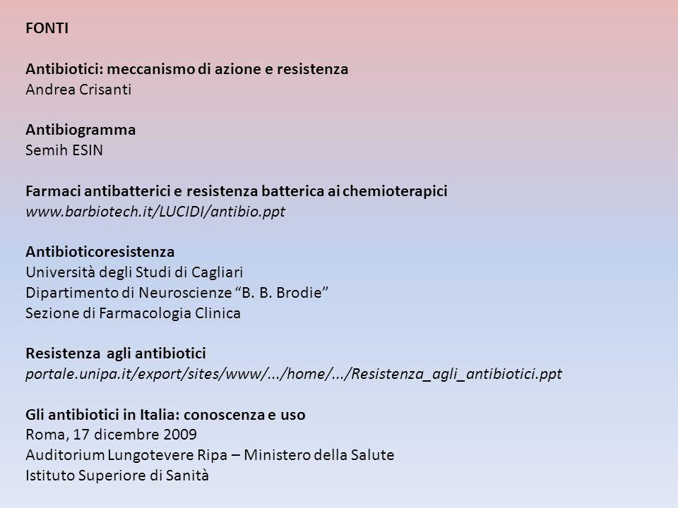 FONTI Antibiotici: meccanismo di azione e resistenza Andrea Crisanti Antibiogramma Semih ESIN Farmaci antibatterici e resistenza batterica ai chemiote