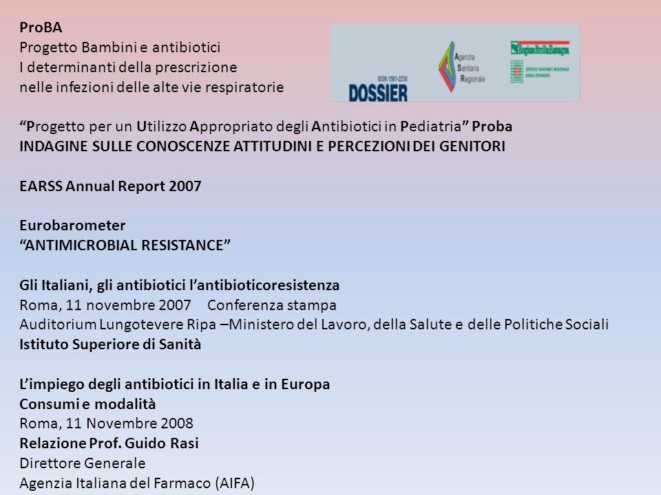 ProBA Progetto Bambini e antibiotici I determinanti della prescrizione nelle infezioni delle alte vie respiratorie Progetto per un Utilizzo Appropriat