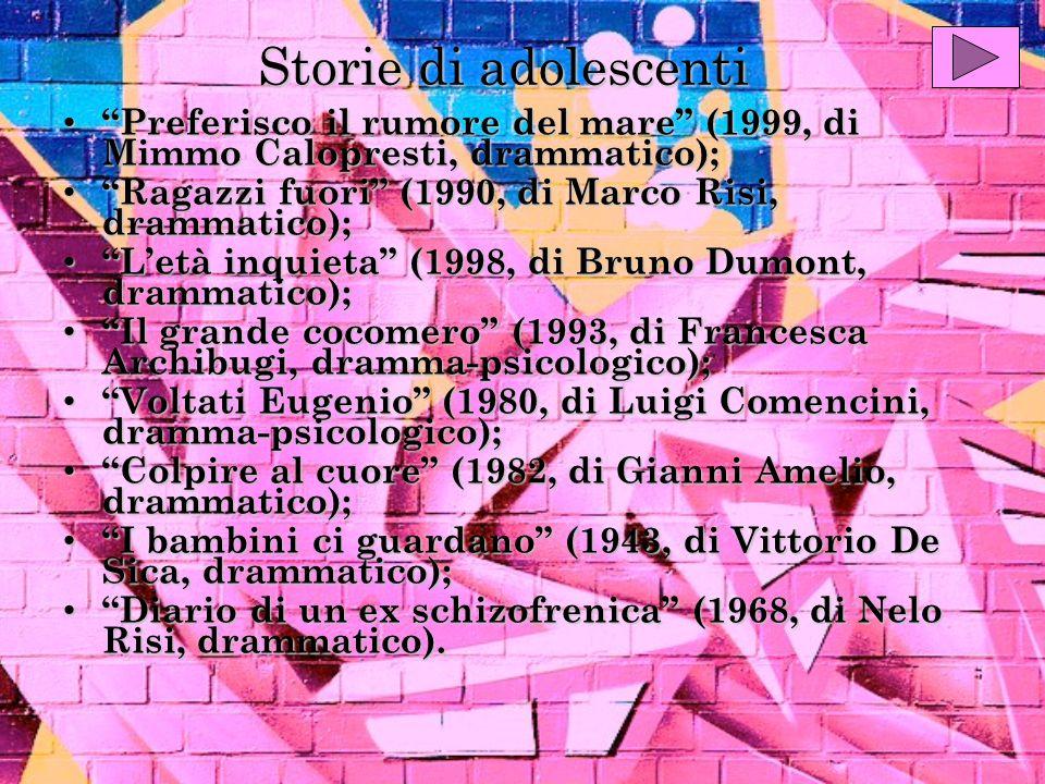 Storie di adolescenti Preferisco il rumore del mare (1999, di Mimmo Calopresti, drammatico); Preferisco il rumore del mare (1999, di Mimmo Calopresti, drammatico); Ragazzi fuori (1990, di Marco Risi, drammatico); Ragazzi fuori (1990, di Marco Risi, drammatico); Letà inquieta (1998, di Bruno Dumont, drammatico); Letà inquieta (1998, di Bruno Dumont, drammatico); Il grande cocomero (1993, di Francesca Archibugi, dramma-psicologico); Il grande cocomero (1993, di Francesca Archibugi, dramma-psicologico); Voltati Eugenio (1980, di Luigi Comencini, dramma-psicologico); Voltati Eugenio (1980, di Luigi Comencini, dramma-psicologico); Colpire al cuore (1982, di Gianni Amelio, drammatico); Colpire al cuore (1982, di Gianni Amelio, drammatico); I bambini ci guardano (1943, di Vittorio De Sica, drammatico); I bambini ci guardano (1943, di Vittorio De Sica, drammatico); Diario di un ex schizofrenica (1968, di Nelo Risi, drammatico).