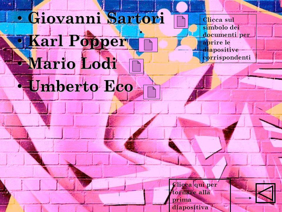. Giovanni Sartori Giovanni Sartori Karl Popper Karl Popper Mario Lodi Mario Lodi Umberto Eco Umberto Eco Clicca qui per tornare alla prima diapositiv