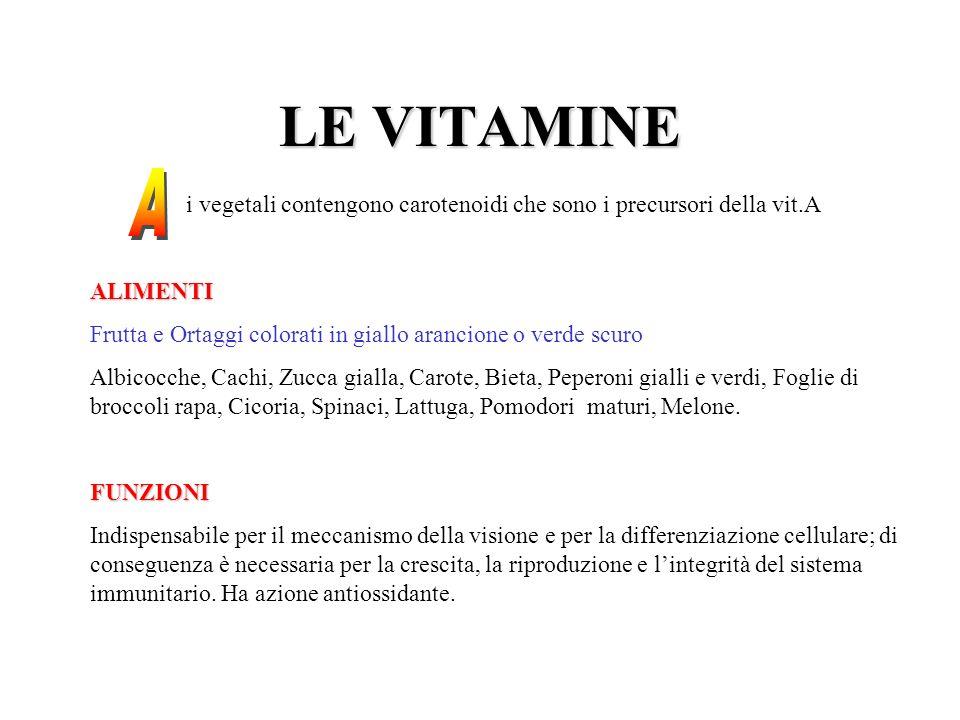 LE VITAMINE i vegetali contengono carotenoidi che sono i precursori della vit.AALIMENTI Frutta e Ortaggi colorati in giallo arancione o verde scuro Al