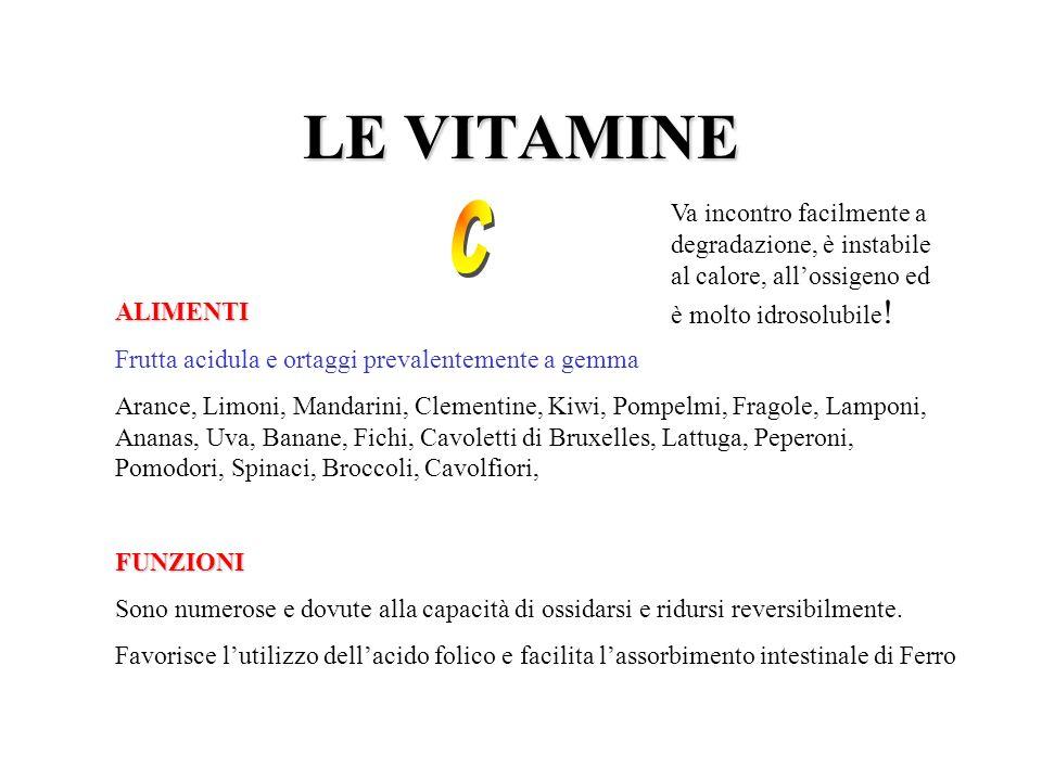LE VITAMINE ALIMENTI Frutta acidula e ortaggi prevalentemente a gemma Arance, Limoni, Mandarini, Clementine, Kiwi, Pompelmi, Fragole, Lamponi, Ananas,