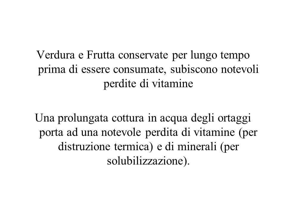 Verdura e Frutta conservate per lungo tempo prima di essere consumate, subiscono notevoli perdite di vitamine Una prolungata cottura in acqua degli or