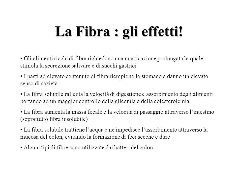 La Fibra: gli effetti! La Fibra : gli effetti! Gli alimenti ricchi di fibra richiedono una masticazione prolungata la quale stimola la secrezione sali
