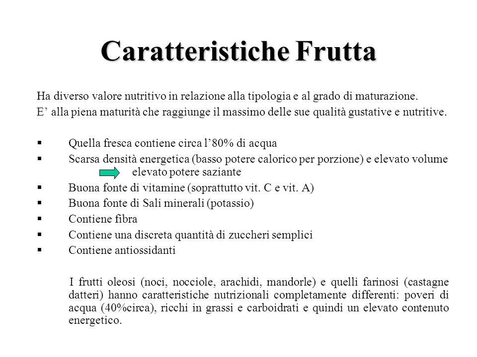 Caratteristiche Frutta Ha diverso valore nutritivo in relazione alla tipologia e al grado di maturazione. E alla piena maturità che raggiunge il massi