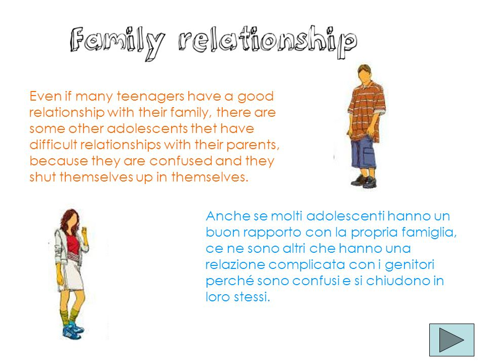 Even if many teenagers have a good relationship with their family, there are some other adolescents thet have difficult relationships with their paren